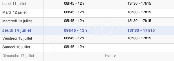 horaires d'ouverture de la Mairie D'Andrésy