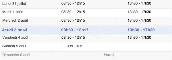 horaires d'ouverture de la Mairie De Guipavas