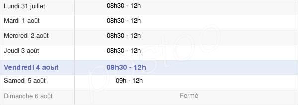 horaires d'ouverture de la Mairie De Saint-Vougay