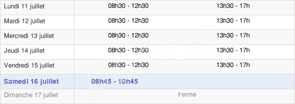 horaires d'ouverture de la Mairie De La Bassée