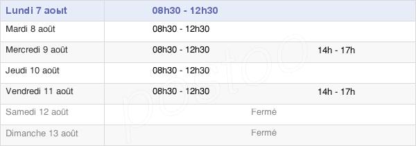 horaires d'ouverture de la Mairie De Clary