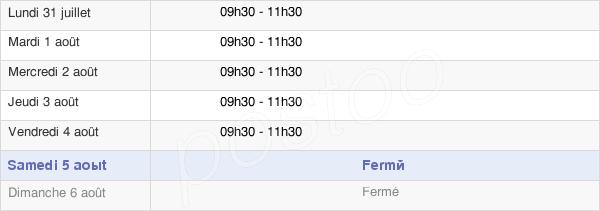 horaires d'ouverture de la Mairie De Verneix