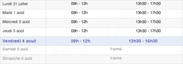 horaires d'ouverture de la Mairie De Lapalisse
