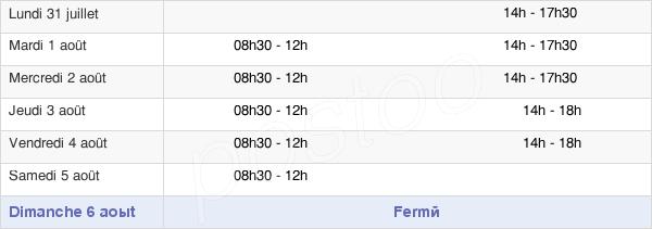 horaires d'ouverture de la Mairie de Chéreng