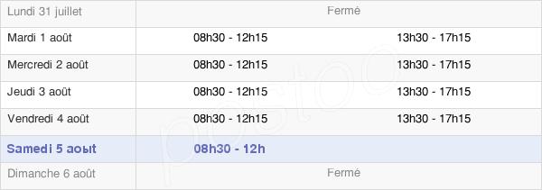 horaires d'ouverture de la Mairie De Roubaix