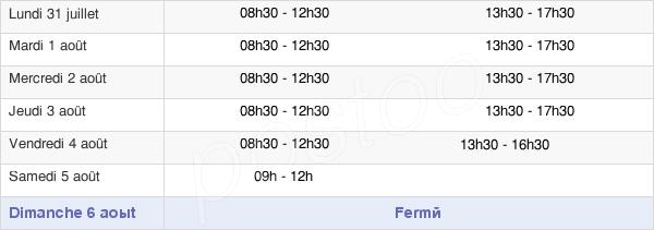 horaires d'ouverture de la Mairie De Cambrai