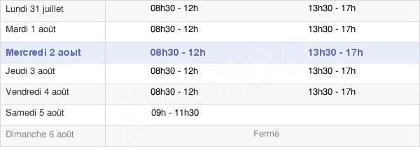 horaires d'ouverture de la Mairie D'Estaires