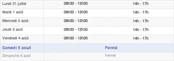 horaires d'ouverture de la Mairie De Dechy