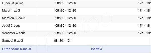 horaires d'ouverture de la Mairie De Rieux-En-Cambrésis