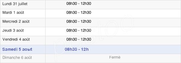 horaires d'ouverture de la Mairie De Prouvy