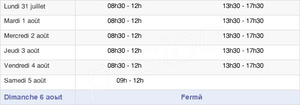 horaires d'ouverture de la Mairie De Pont-Sur-Sambre