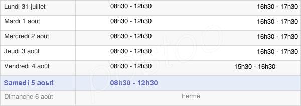 horaires d'ouverture de la Mairie De Villers-En-Cauchies
