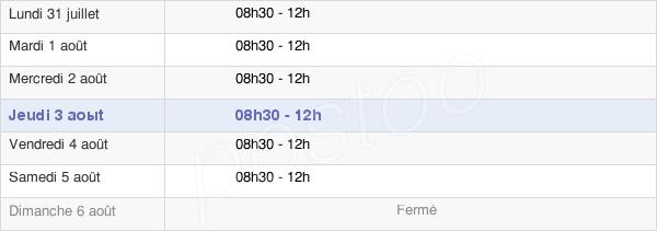 horaires d'ouverture de la Mairie De Broût-Vernet
