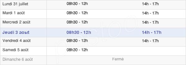 horaires d'ouverture de la Mairie De Villars-Les-Dombes
