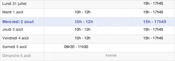 horaires d'ouverture de la Mairie De Saint-Bonnet-Tronçais