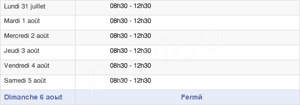 horaires d'ouverture de la Mairie De Chaunay