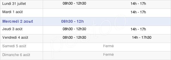 horaires d'ouverture de la Mairie De Marçay