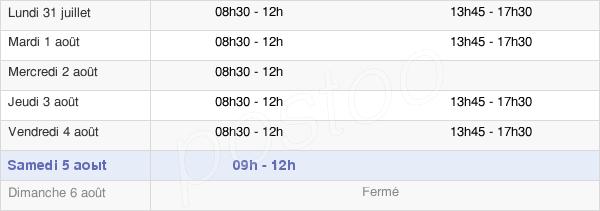 horaires d'ouverture de la Mairie De Quincay