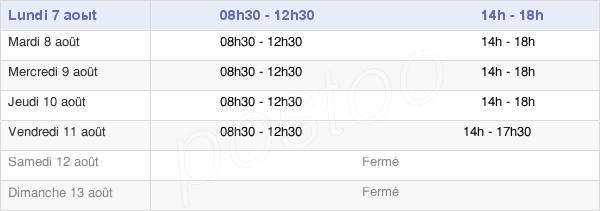horaires d'ouverture de la Mairie De Saulgé