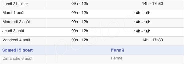 horaires d'ouverture de la Mairie De Benassay
