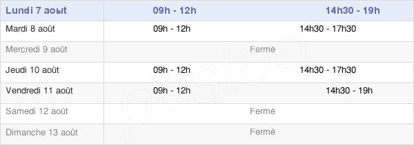 horaires d'ouverture de la Mairie De Couhé