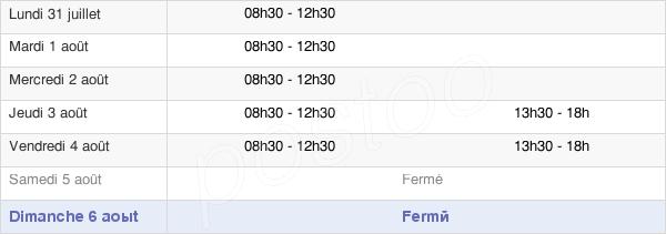 horaires d'ouverture de la Mairie De Lavoux