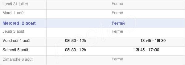 horaires d'ouverture de la Mairie De Ligugé