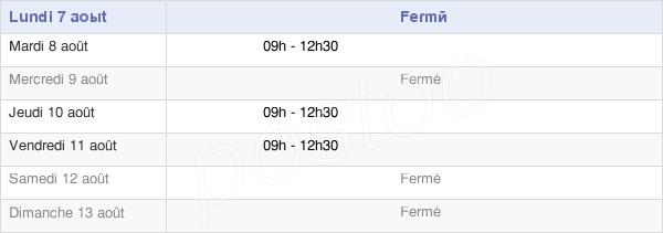 horaires d'ouverture de la Mairie D'Aulnay