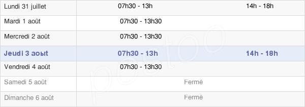 horaires d'ouverture de la Mairie De Morne Rouge
