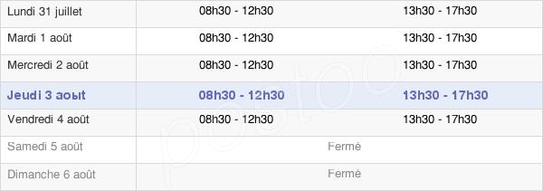 horaires d'ouverture de la Mairie De Brides-Les-Bains