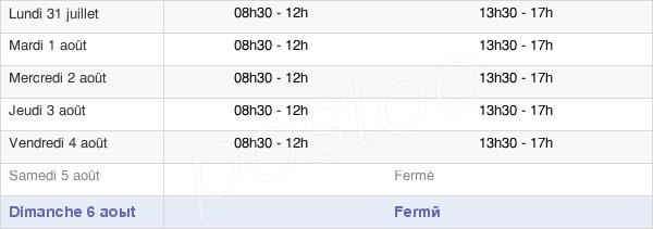 horaires d'ouverture de la Mairie De Salins-Les-Thermes