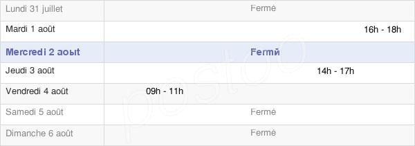 horaires d'ouverture de la Mairie De Chamousset