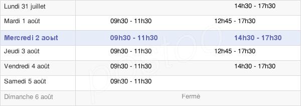 horaires d'ouverture de la Mairie De Jacob-Bellecombette