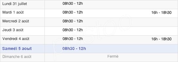 horaires d'ouverture de la Mairie De La Biolle