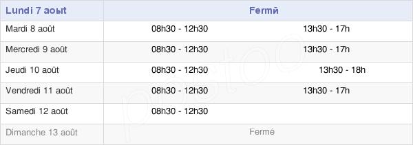 horaires d'ouverture de la Mairie De Pauillac