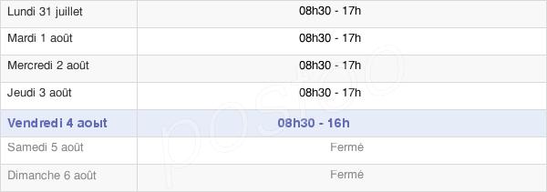 horaires d'ouverture de la Mairie De Bruges