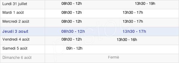 horaires d'ouverture de la Mairie De Saint-André-De-Cubzac