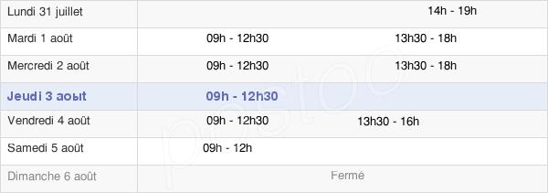 horaires d'ouverture de la Mairie De Cadaujac