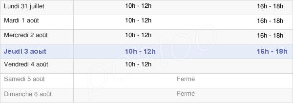 horaires d'ouverture de la Mairie De Rémilly