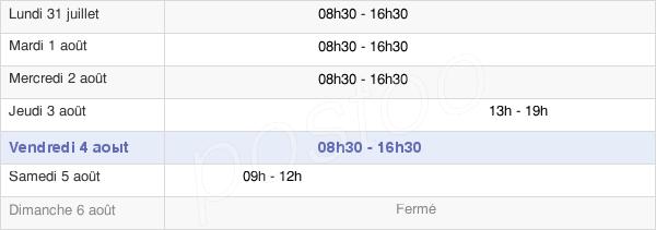 horaires d'ouverture de la Mairie De Canéjan