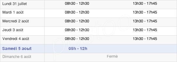 horaires d'ouverture de la Mairie De Pineuilh