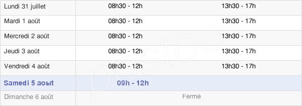 horaires d'ouverture de la Mairie De Mios