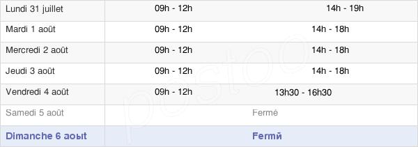horaires d'ouverture de la Mairie De Sainte-Eulalie