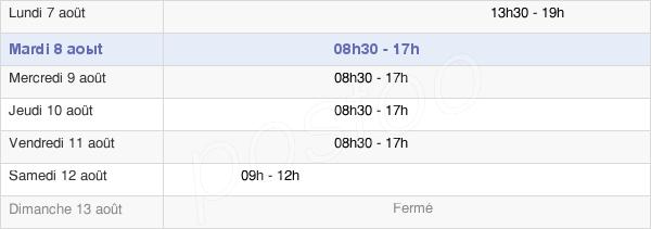 horaires d'ouverture de la Mairie De Pessac