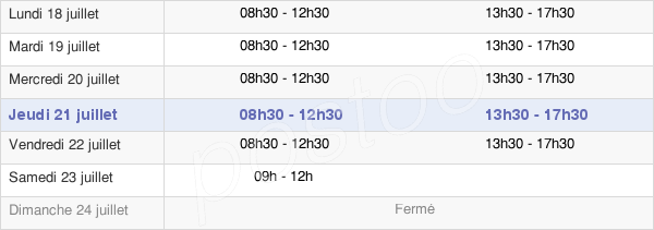horaires d'ouverture de la Mairie D'Izon