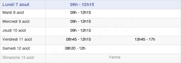 horaires d'ouverture de la Mairie De Saint-Cloud