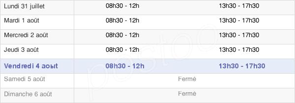 horaires d'ouverture de la Mairie De Cusset