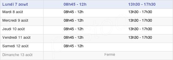 horaires d'ouverture de la Mairie De Vernon