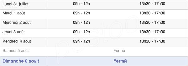 horaires d'ouverture de la Mairie de Cunac