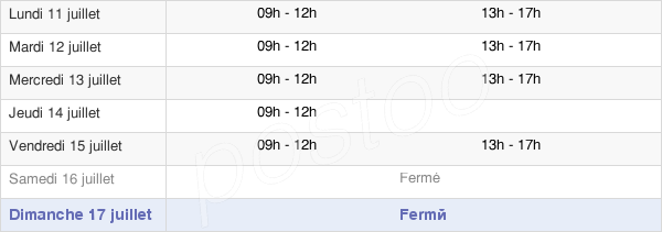 horaires d'ouverture de la Mairie De Boulange